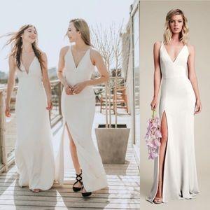 Dress The Population Iris Crepe Side Slit Gown M
